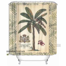 "$enCountryForm.capitalKeyWord Canada - Vixm Home Vintage Plant Legend Fabric Shower Curtain Banana Tree Bath Curtain for Bathroom With Hook Rings 72"" X 72"""