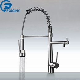 Brass Kitchen Faucets Brushed Nickel Australia - Spring Kitchen Faucet PullDown Brushed NIckel Mixer Faucet Deck Mounted Single Handle Brass Kitchen Taps
