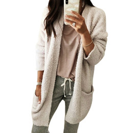 9831ac6c75 Autumn Cardigans Pockets Elegant Open Stitch Casual Long Sleeve Soft  Outwear Sweater Warm Winter Women Sweaters Plus Size GV144