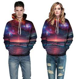 Discount jacket space galaxy - Wholesale free shipping Sweatshirts Men Galaxy Space 3d Sunrise Hoody Jackets Women Harajuku Hip Hop Large Size 3XL Spor
