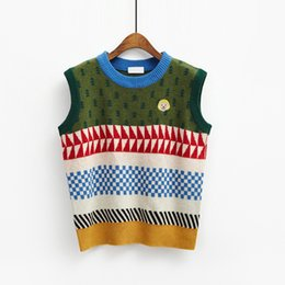 New Korean Institute Wind Retro Color Patchwork Printed Cute Sweater Vest Womens  Casual Round Neck Loose Knit Pullovers Jumpers 5423b1e10