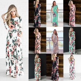 wholesale printed dresses NZ - 2018 Fashion Summer Boho Beach Dress Floral Printed Women Long Dress Long and Short Sleeve Loose Maxi Dress Vestidos OUC3094