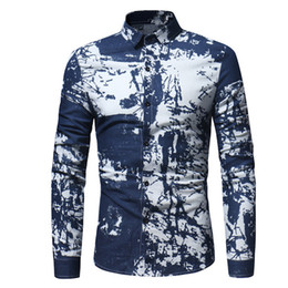 Smart Clothing NZ - Male Smart Casual Shirt Hand-painted Style Blouse Men Offic Wear Blusa Wedding Party Clothing Classic Club Shirts Male Slim Tops