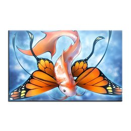 $enCountryForm.capitalKeyWord UK - Large size Printing Oil Painting fish butterfly Wall painting Decor Wall Art Picture For Living Room painting No Frame
