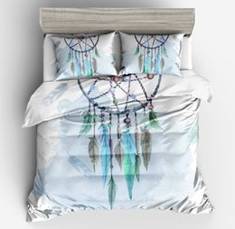 Yellow White Bedding Sets Australia - Bedding Outlet Heart Dream catcher Bedding Set white Sky Blue Duvet Cover Pillow case Watercolor Feather Bed Set Soft full size