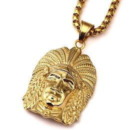 Native American Charms Australia - 2018 New Gold Tone Native American Indian Chief Head Portrait Pendant Necklace With 27.5 Inch Chain Men Women Hip Hop Jewelry