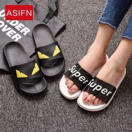 Home slippers online shopping - Home cartoon slippers female summer couple fashion letters home children EVA sandals slippers