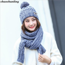 $enCountryForm.capitalKeyWord Australia - 2018 New Korea Ladies Two Pieces Kniting Hats With Scarf Lady Rabbit Hair Hats Gary,Pink,Rose Red,Beige,Purple,Blue 5 Colors