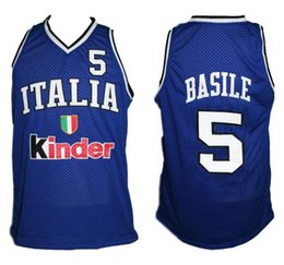 Gianluca Basile  5 Team Italia Italy Retro Classic Basketball Jersey Mens  Embroidery Stitched Custom any Number and name Jerseys cea5a7397
