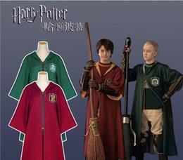 harry potter kids robe cloak UK - Harry Potter Robe Cloak Cape Cosplay Costume Kids Adult Harry Potter Robe Cloak Gryffindor Slytherin Ravenclaw Robe cloak