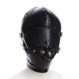 Ball Hood Bondage Australia - Bondage Restraint Sexy Toys Headgear With Mouth Ball Gag BDSM Erotic PU Leather Sexy Hood Mask Adult Games SM Mask For Couples Erotic Toys