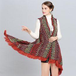 shawls ponchos cape coats 2019 - LaMaxPa 2018 Winter New Women Warm Fashion Striped Oversize Cashmere Vintage Shawls Wraps Long Cape Femme Coat Poncho Ta