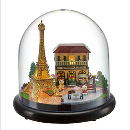 Toy Furniture Wholesale NZ - Eiffel Tower Small Dollhouse Wooden Doll Houses Miniature Home Assembling Dollhouse Diy Glass Ball Toys Kit totoro Figure