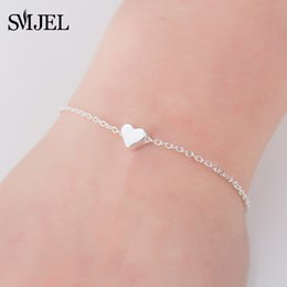 SMJEL Best Friend New Year Gift Tiny Heart Bangles Bracelets For Women Love Jewelry Birthday Bracelet Femme Bileklik B042