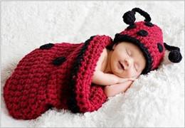 $enCountryForm.capitalKeyWord Australia - Fashion Newborn Cute Baby Photo Props Handmade Knitted Beetle Sleeping Bag Hat Set Cartoon Infant Phography Shoot Accessory PZ031