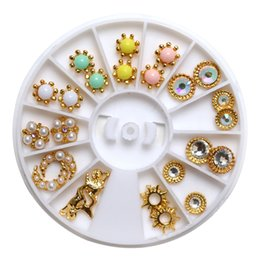 Ring Art Design UK - 12 Styles 24pcs DIY Design Colorful Pearl Gold Nail Art Dangle Ring Charm Round Drill Set Nail Manicure Art Decors Charms