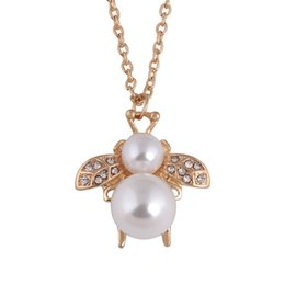 cute small gold pendant 2019 - Cute Bees Necklaces & Pendants For Women High Quality Lady gold color jewelry Small bee pendant imitation pearl necklace
