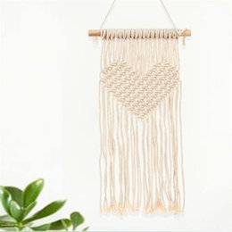 hanging decoration hearts UK - Macrame Woven Tapestry Wall Hanging Handmade Knitting Heart Tapestries Wedding Decoration Craft Gifts