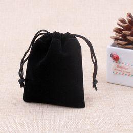 Discount cheap bag hot - Hot Sale Cheap Velvet Jewelry Pouches Fashion Black Bracelet Bangles Small Bags Pouches 5x7cm Wholesale Drawstring Bag