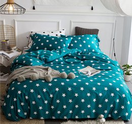 solid aqua bedding NZ - export Europe and America 60 long cotton bed sheet bedding set reactive printing color stripe and star designs