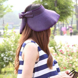 BONJEAN Fashion Women Lady Foldable Roll Up Sun Beach Wide Brim Straw Visor  Hat Cap Summer Hats Travel Beach Caps 13 Colors c7f68419ef86