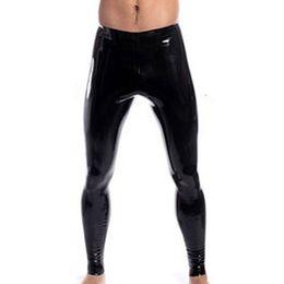 Latex Leggings NZ - High Stretch Mens Black Faux Leather Latex Pencil Leggings Very Slim Wetlook Bondage Pants Gay Male Fashion Slim Sexy Lingerie