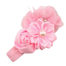 $enCountryForm.capitalKeyWord UK - Fashion Baby Girl headband lovely Flower Pearl Flower Hair Band Headband Hairband for girl Hair Accessories sweet color