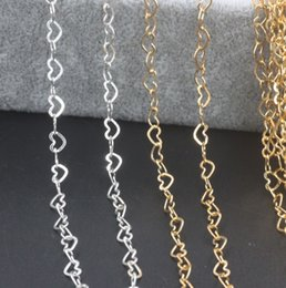 Music Connector Australia - 4mm Gold Heart Connectors Chains Silver Link Chain For DIY Necklace Making Accessory Findings Supplies 30 yard Lot Free Shipping