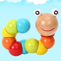 educational games for free Canada - Wholesale New Wooden Worm Puzzles Insect Fingers Flexible Training Twisting Game for Kids Gift Kids Educational Baby Toys Free Shipping
