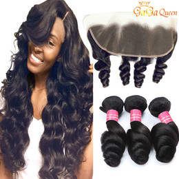 Unprocessed loose wave closUre online shopping - Peruvian Loose Wave With x13 Closure Peruvian Hair Bundles With Frontal Unprocessed Human Hair Weaves Hair Ear to Ear Lace Frontal Closure