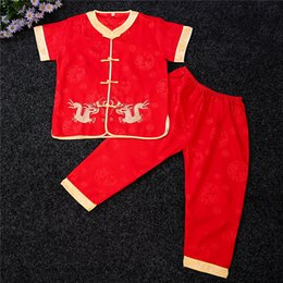 Boy Chinese Suit Canada - Shanghai Story Red Short Sleeve Chinese traditional embroider dragon sets for kids boy's kungfu suit sets Martial Arts Sets