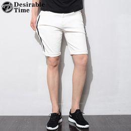 Distressed White Denim Shorts Canada - Skinny Mens Distressed Jeans Shorts Casual Black White Ripped Jeans for Men Slim Fit Hip Hop Streetwear Men's Hole DT340