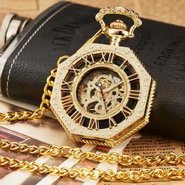 Unique Watches For Men Australia - 1 Pcs Luxury Unique Hexagonal Roman Number Full Steel Necklace Pendant Fob Chain Hand-Winding Mechanical Pocket Watches For Women Men