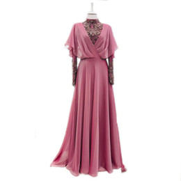 $enCountryForm.capitalKeyWord UK - Real Sample Vestido de Madrin 2018 Mother of Bride Dresses Plus Size Long Sleeves Muslim Chiffon Beading Wedding Guest Dresses