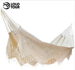 hanging outdoor beds UK - Ultra-Large 2 Person Cotton Hammock With Tassel Garden Swing Bed Outdoor Double Hamac Rede Hangmat Hanging Chair Euro Standard