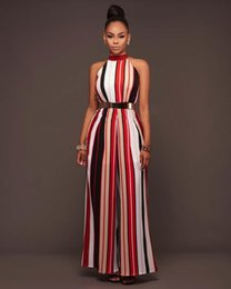 5e083eb399 Fashion Women Rompers Striped Sexy Womens Jumpsuit Casual Halter Sexy  Jumpsuits Wide Leg Pants Rompers S-XXL