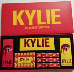 Drop Kylie Jenner Makeup Set Red Birthday Collection Lip Gloss Lipstick Sipping Pretty Eyeshadow Palette Kit Big Box Cosmetics Summer Gift