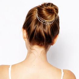 $enCountryForm.capitalKeyWord NZ - 1PC Fashion Women Lady Girls Multilayer Tassels Pearl Chain Hairband Hairpins Barrettes Dish Hair Clips Band Accessories