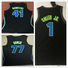 Stitched Men  1 Dennis Smith Jr.  41 Dirk Nowitzki Jersey Basketball The City  Black Blue White  77 Luka Doncic Jerseys High Quality b20309cd0