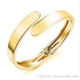 Simple Gold Designs 18k Australia - Simple Design Open Bangles Fashion For women Copper White 18k Gold Plated Jewelry Bracelet Pulseira KH504