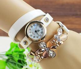 $enCountryForm.capitalKeyWord NZ - 2018 New women vintage leather strap watches set auger flower rivet bracelet women dress wrist watch