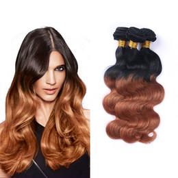 Discount cheap wavy hair extensions remy - 8A Grade Brazilian Virgin Wavy Colored Hair Ombre 1B 30 Body Wave 3 Bundles Cheap Human Hair Products 100g pcs Remy Weav