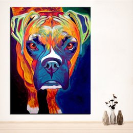large floral canvas art UK - Large size Print Oil Painting boxer dog Wall painting Home Decorative Wall Art Picture For Living Room paintng No Frame