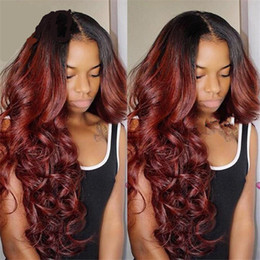 Full Lace Ombre Wigs Human Hair Australia - Ombre Burgundy Full Lace Human Hair Wigs Two Tone T1b 99j Body Wavy Malaysian Virgin Hair Wine Red 150% Density Lace Front Wigs