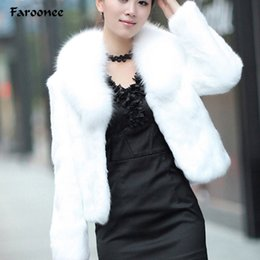 White Short Sleeve Faux Fur NZ - Faroonee Stylish Faux Fur Coat Thicken Warm Outwear Women Winter New Fur Jacket Coat Long Sleeve White Black Plus Size 3XL Q1600 S112