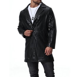 Wholesale mens leather sleeve trench coat resale online - Long Leather PU Sleeve Men Coats Blend woolen Winter Autumn Slim Fit Mens Trench Outerwear Casual Jackets S XL J181028