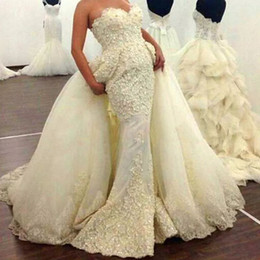 $enCountryForm.capitalKeyWord Canada - Fabulous Lace Appliqued Wedding Dresses With Overskirt Luxury Pearls Beaded Mermaid Tulle Wedding Gown Glamorous Dubai Sexy Bridal Dresses