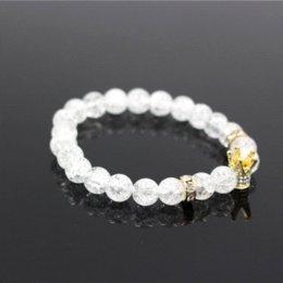 Micro Pave White CZ color oro King Crown Charm Bracciale Uomo polacco opaco bianco Popcorn pietra braccialetto gioielli perline per le donne in Offerta