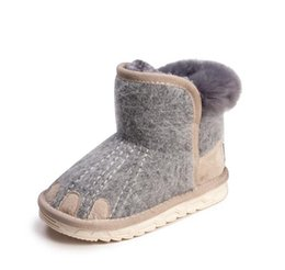 Fashion Snow Boots for Girls Kids Warmed Shoes with Rabbit Furs soft bottom  baby girls boots leather winter snow boot for baby 259c1a8e98c4