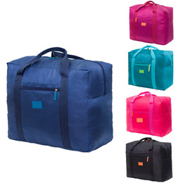 foldable bags totes wholesale UK - Collapsible Nylon Travel Luggage Bag Sports Gym Water Resistant Foldable Lightweight Large Capacity Duffel Luggage Bag Tote Wholesale